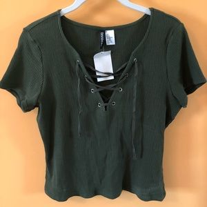 Divided Tops - Green lace-up top